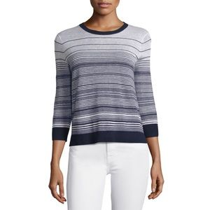 Theory Navy and White Striped Rainee Style Sweater
